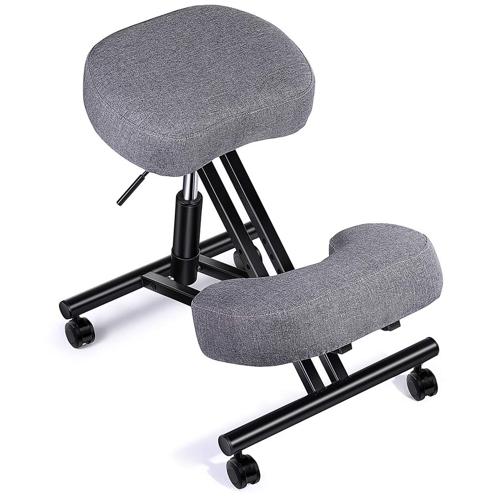 SUPERJARE Cotton & Linen Ergonomic Kneeling Chair, Stool for Improving Posture, 4 inches Thick Cushion, 5 Adjustable Heights, Kneeling Stool for Office and Home - Gray by SUPERJARE