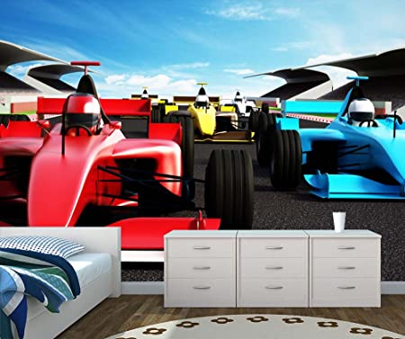 Race Cars Wall Mural Photo Wallpaper Kids Bedroom Race Track XX