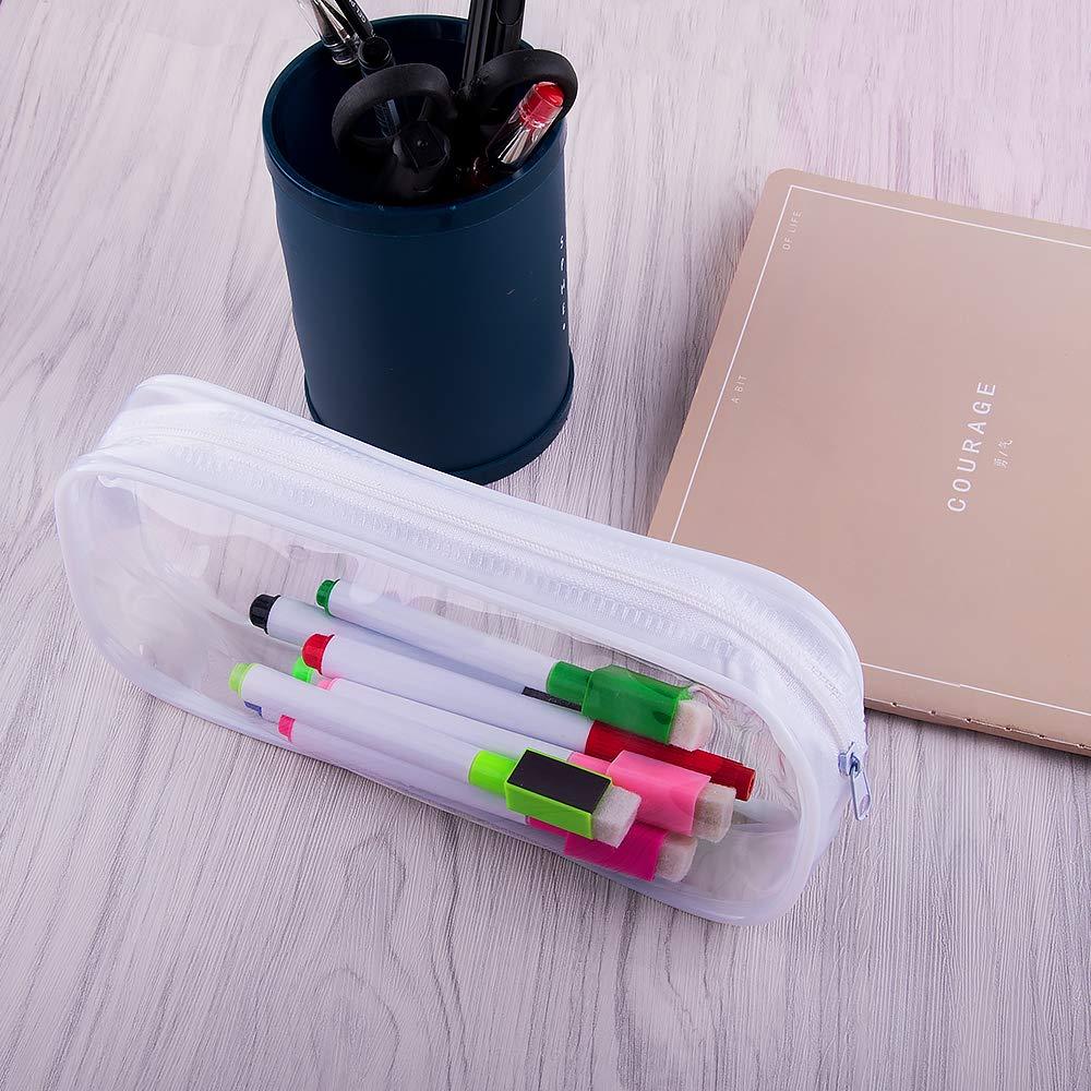 SIQUK Lot de 6 trousses /à crayons en PVC transparent Grande capacit/é Fermeture /Éclair Sac /à crayons Trousse de maquillage pour filles gar/çons et adultes