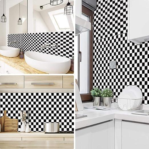 Pegatinas de azulejos para cocina Mosaico baños ladrillo escaleras suelo 20x20 cm, Blanco negro papel simulación rueba de aceite vinilo autoadhesivo impermeable baldosas hidraulicas Actualizar: Amazon.es: Hogar