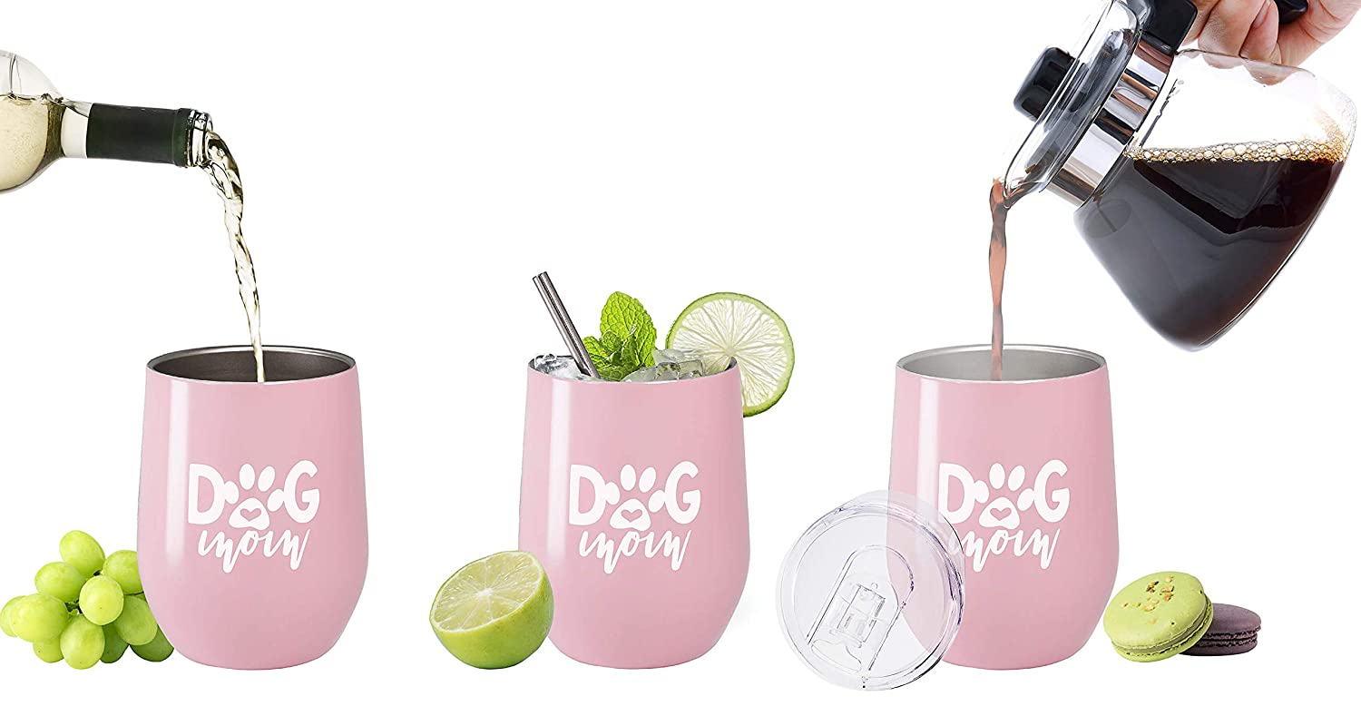 White Birthday Dog Mom - 12 oz Christmas Gift for Dog Lover Women Dog Mom 12 oz Stainless Steel Stemless Wine Tumbler with Lid and Straw
