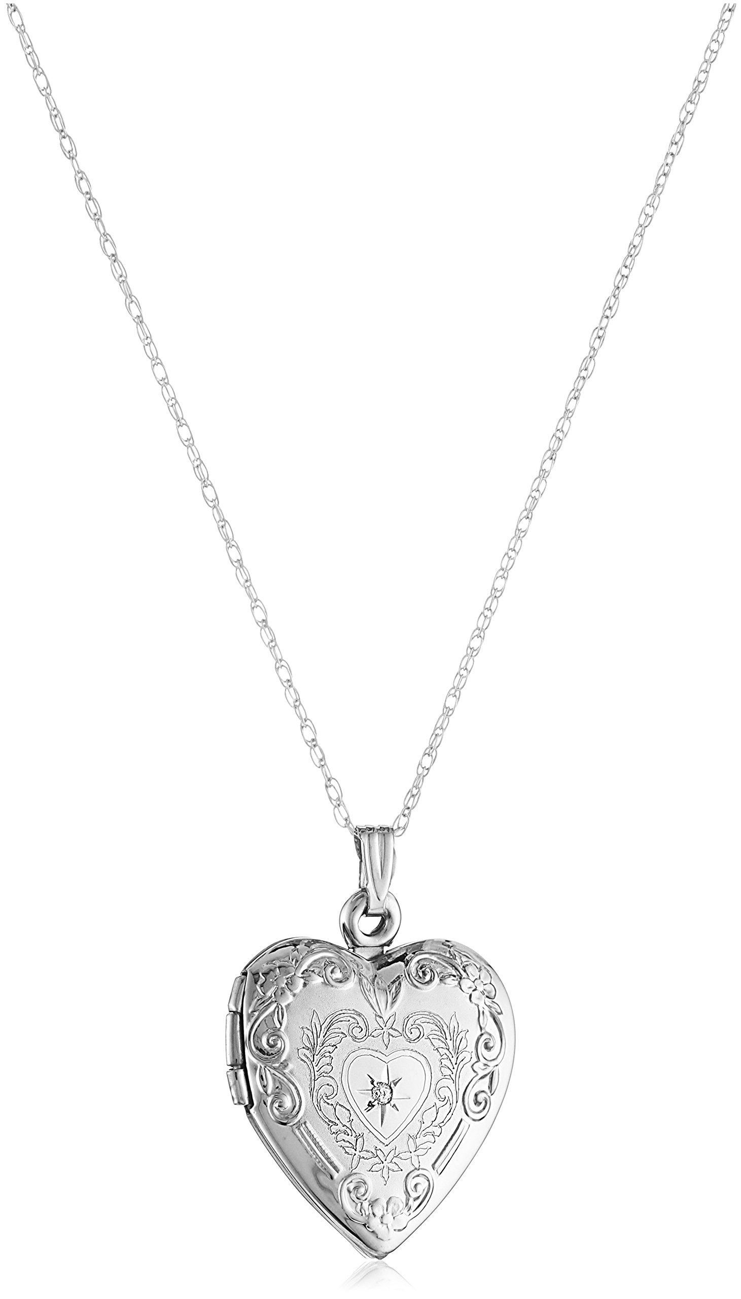 10k White Gold Diamond Heart Locket Necklace, 18''