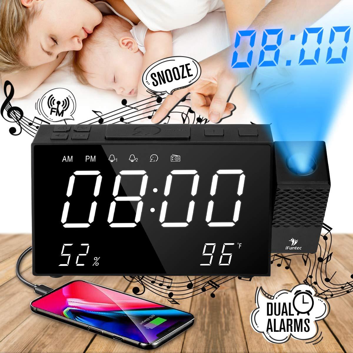 iFunTec Orologio con Proiezione, Radiosveglia con Proiettore Dimmerabile, FM Orologio con Doppi Allarmi,Funzione di Snooze, Schermo da 7pollici con Dimmer,Visualizza Tempo/umidità/Temperatura