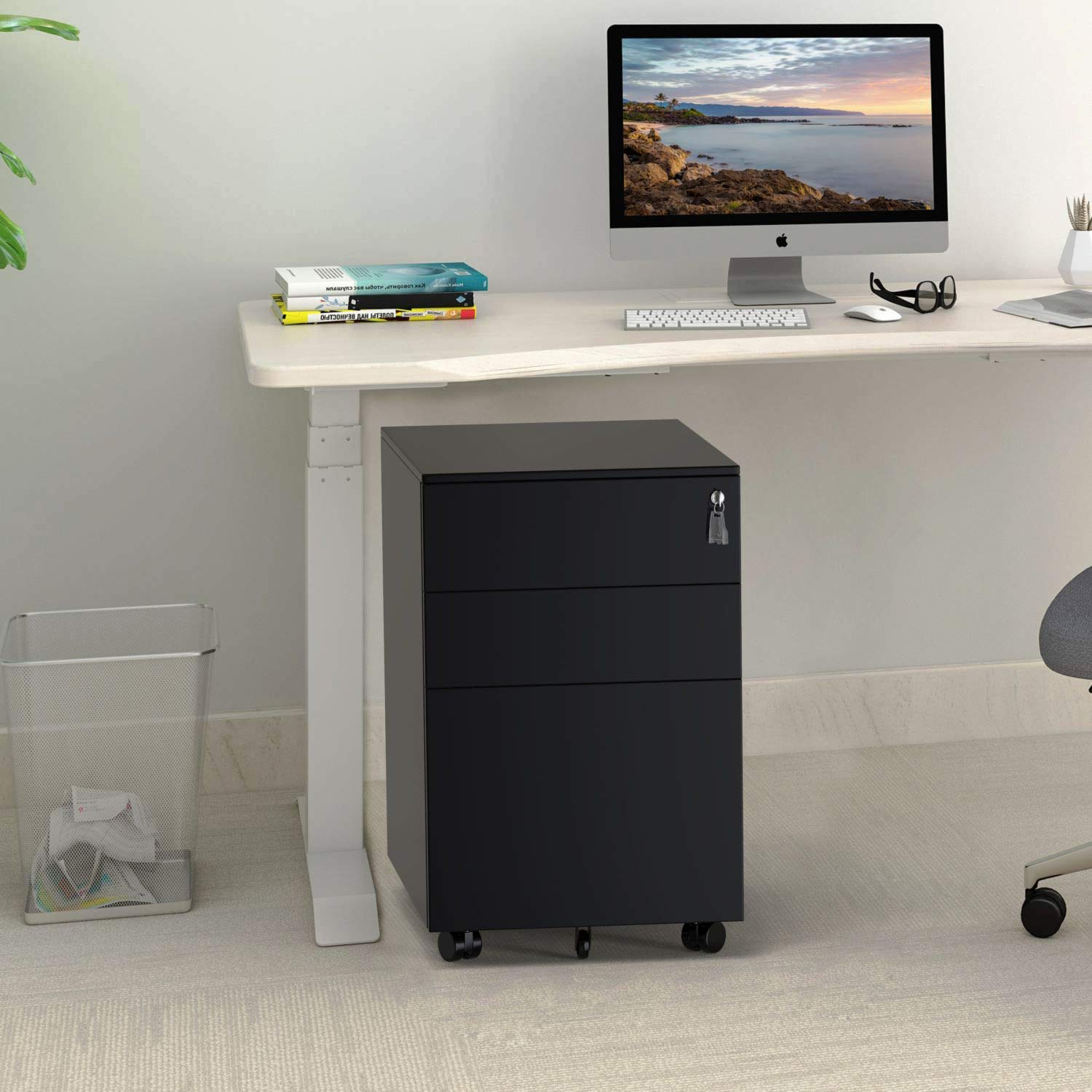 ModernLuxe File Cabinet 3 Drawer Metal Mobile File Cabinet with Lock Fully-Assembled Except Casters (Black) by ModernLuxe (Image #7)