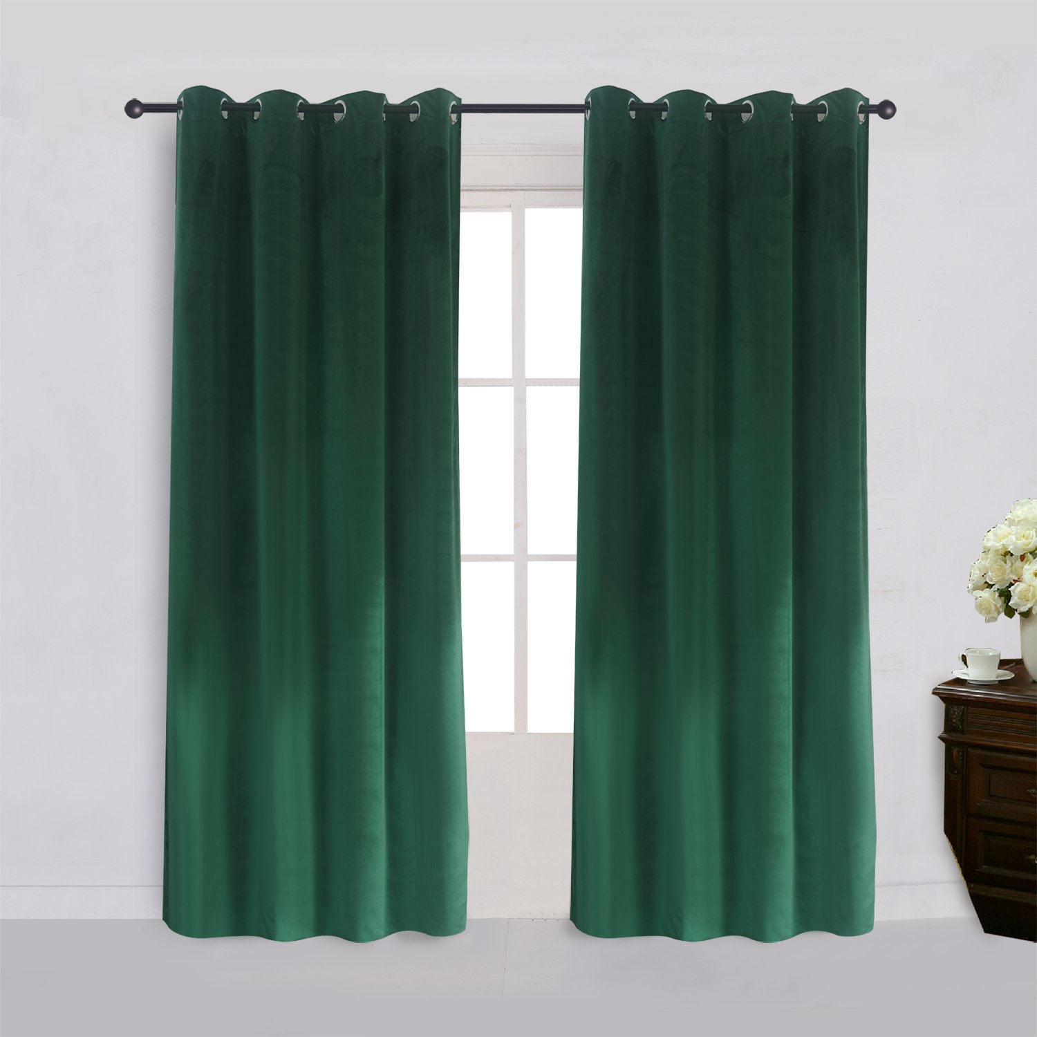 Super Soft Signature Velvet Curtains Set of 2 Dark-green Classic Blackout Panels Home Theater Grommet Drapes Eyelet 52Wx96L-inch Dark Green(2 panels) with Matching Tiebacks