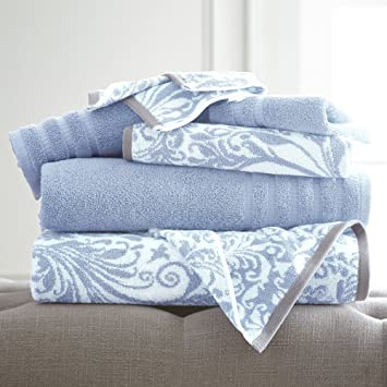 6 hilo teñido juego de toallas, diseño de espirales de filigrana | incluye – 2