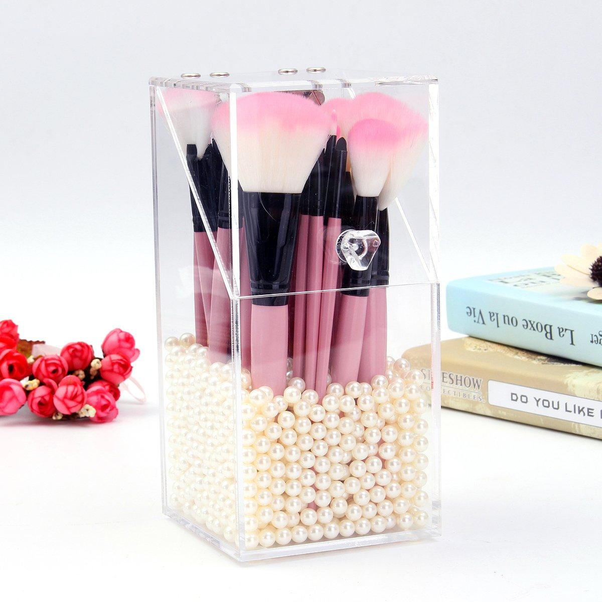 Organizador de Brochas, Luckyfine Organizador de Maquillaje Acrilico, Pincel de Maquillaje Cajas (Sin Perla)