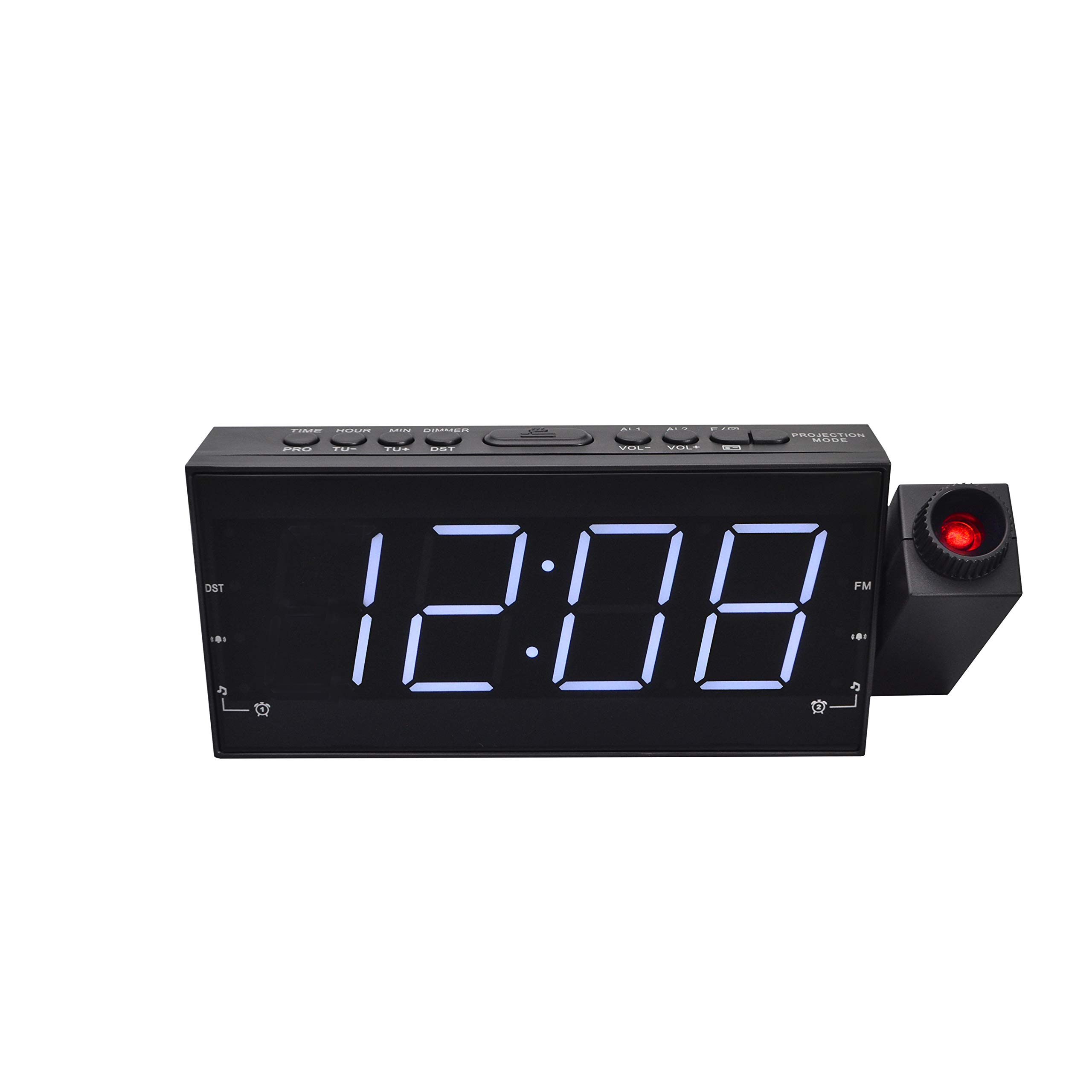 1A2BVV Dimmable Projection Alarm Clock Radio with 1.8'' white LED display, single USB charger, DC Battery Backup, Dual Alarm, Sleep Timer,Snooze (PCR-2159)