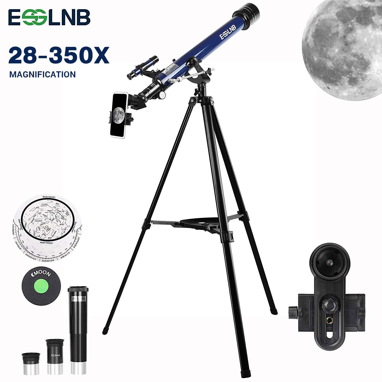 ESSLNB Teleskop Kinder 70//360 Astronomisches Teleskop mit Smartphone Adapter Ausziehbares Stativ 3X Barlow und Mondfilter Aufrechte Bilder bieten