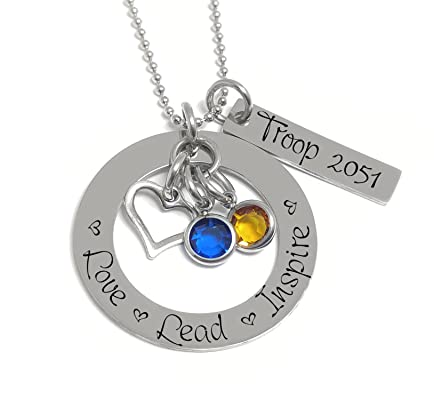 Scout Bridging Personalized Necklace - Love Lead Inspire - Girl Scouts Troop Leader Gift