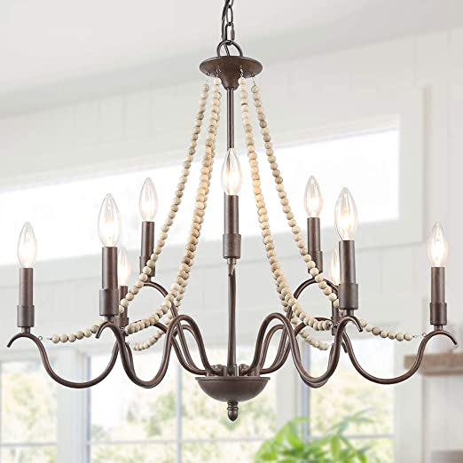 Farmhouse Chandelier, 9-Light Wood Beaded Chandelier for Dining Room, French Country Lighting for Living Room, 28