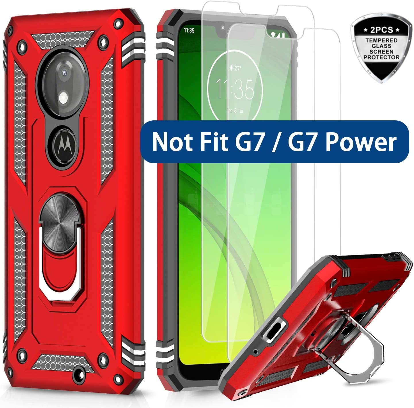 LeYi Moto G7 Play Case (Not Fit Moto G7) with Tempered Glass Screen Protector [2 Pack], Military Grade Defender Phone Case with Magnetic Car Mount Kickstand for Moto G7 Play, Red