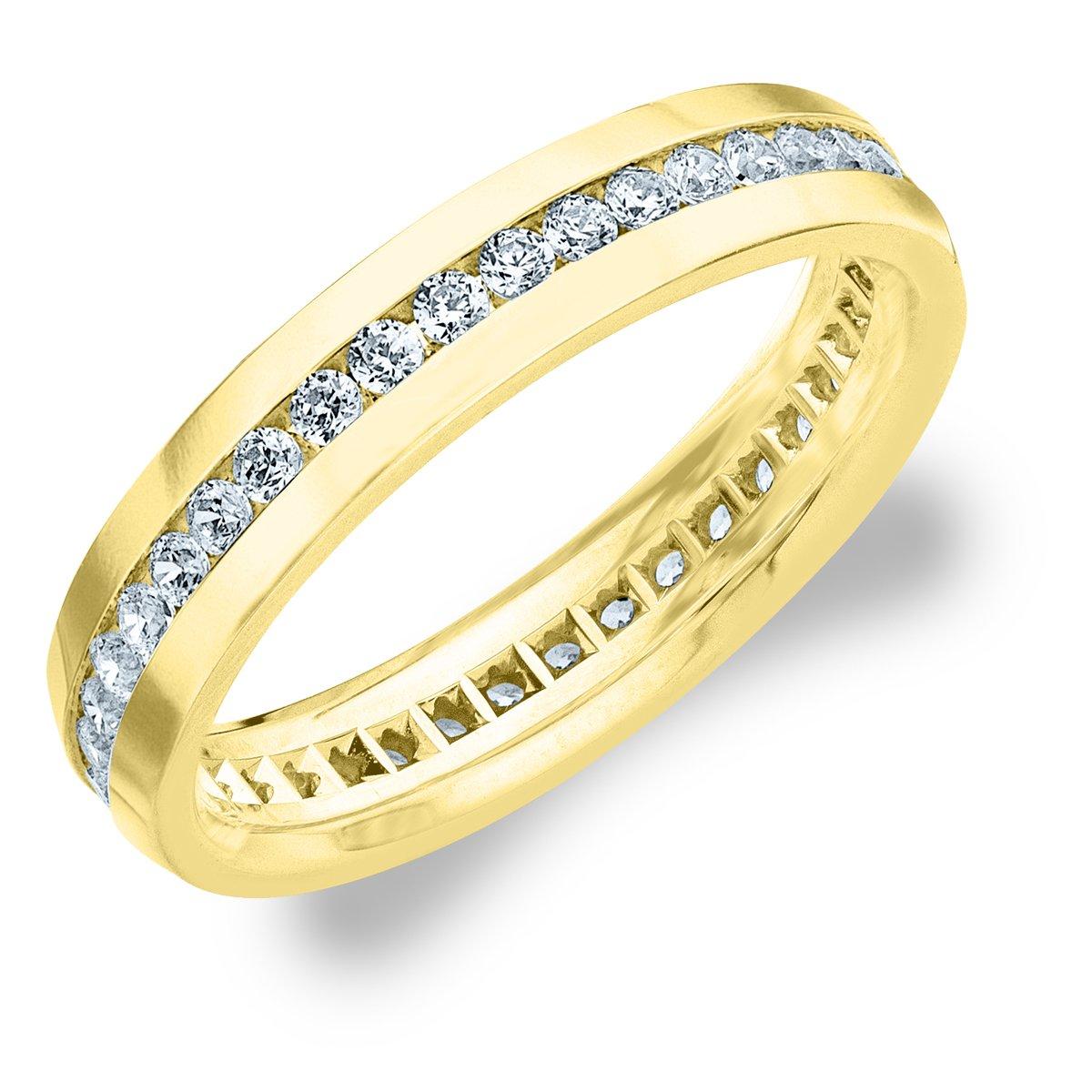 1.0 CTTW Men's Eternity Ring in 18K Yellow Gold, Stunning Mens Diamond Ring Size 9.5