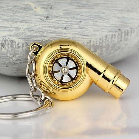 Zhuotop Llavero giratorio con forma de turbocompresor y sonido de silbato real., dorado