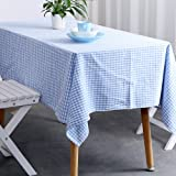 "Vintage Gingham Tablecloths- 55X79 Inch Rectangular Oversized Christmas Holiday Home Decorative100% Pure Cotton Tablecloth by Jennice House(55""X79"", Blue)"
