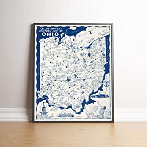 MG Global Ohio Map Print Wall Art  1939 Ohio Vintage Map Wall Prints  Canvas Prints Wall Decor  Old Maps Poster Wall Decor  Pull Down Map   Unframed Wall Art
