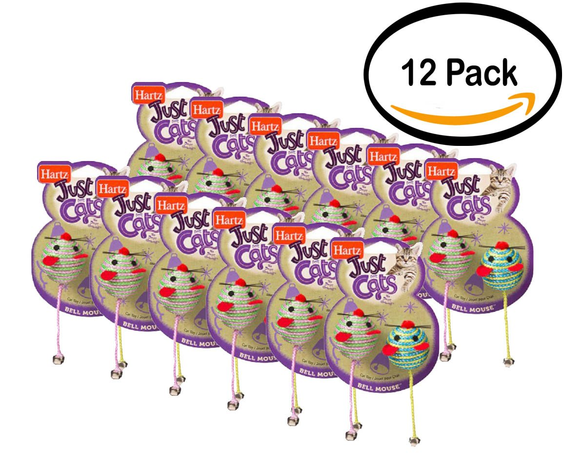 PACK OF 12 - Hartz Just for Cats Bell Mouse Cat Toy