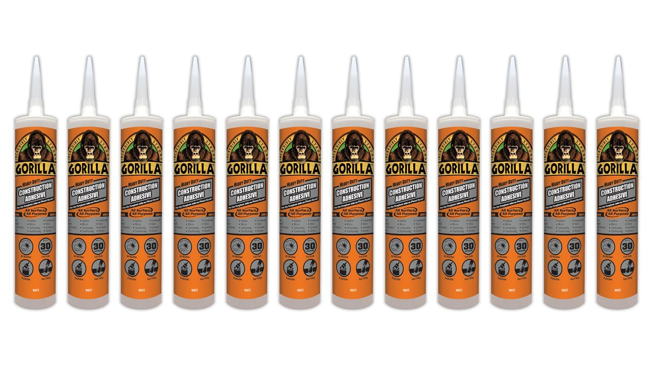Gorilla Heavy Duty Construction Adhesive, 9 ounce Cartridge, White, (Pack of 12)