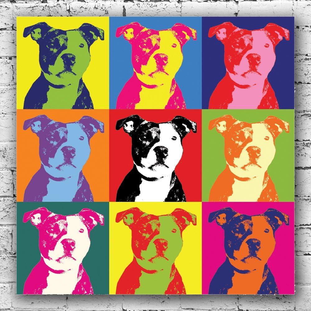 Staffy Dog Canvas Art Prints Pop Art Animal Lover Decor Pet Fun Gift Amazon Co Uk Kitchen Home