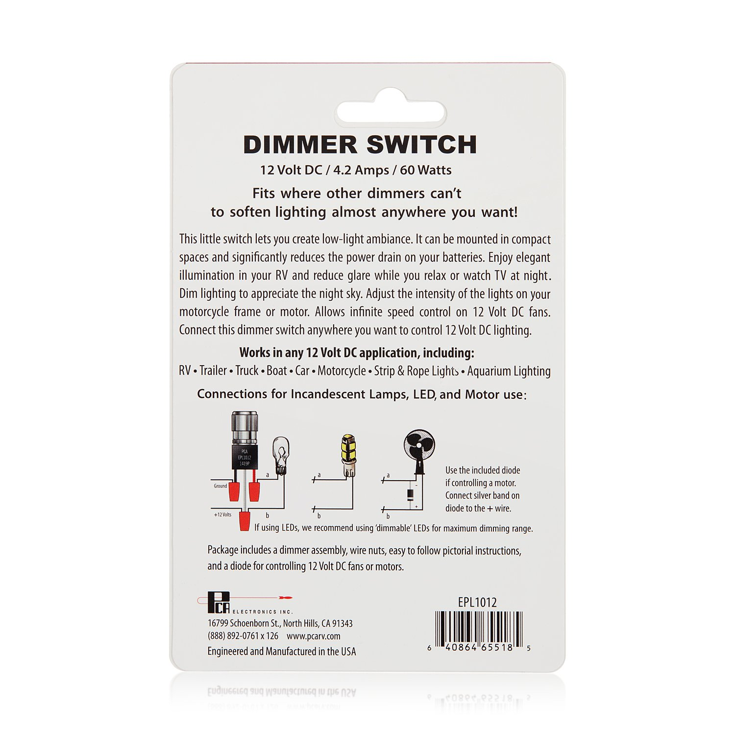 12 Volt Dc Dimmer For Led Halogen Incandescent Rv Fan Regulator Circuit Which Can Also Be Used As A Simple Lamp Auto Truck Marine And Strip Lighting Standard Shaft Black Automotive