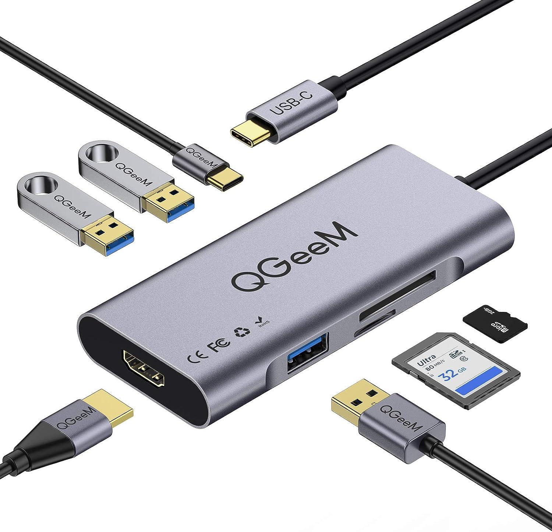 QGeeM Hub USB C, 7 en 1 Adaptador USB C,Tipo C Hub a HDMI 4k, 3 Puertos USB 3.0, Suministro de Energía de 100 W, Lectores de Tarjetas SD/TF Compatibles con MacBook Pro 13/15 (Thunderbolt 3)
