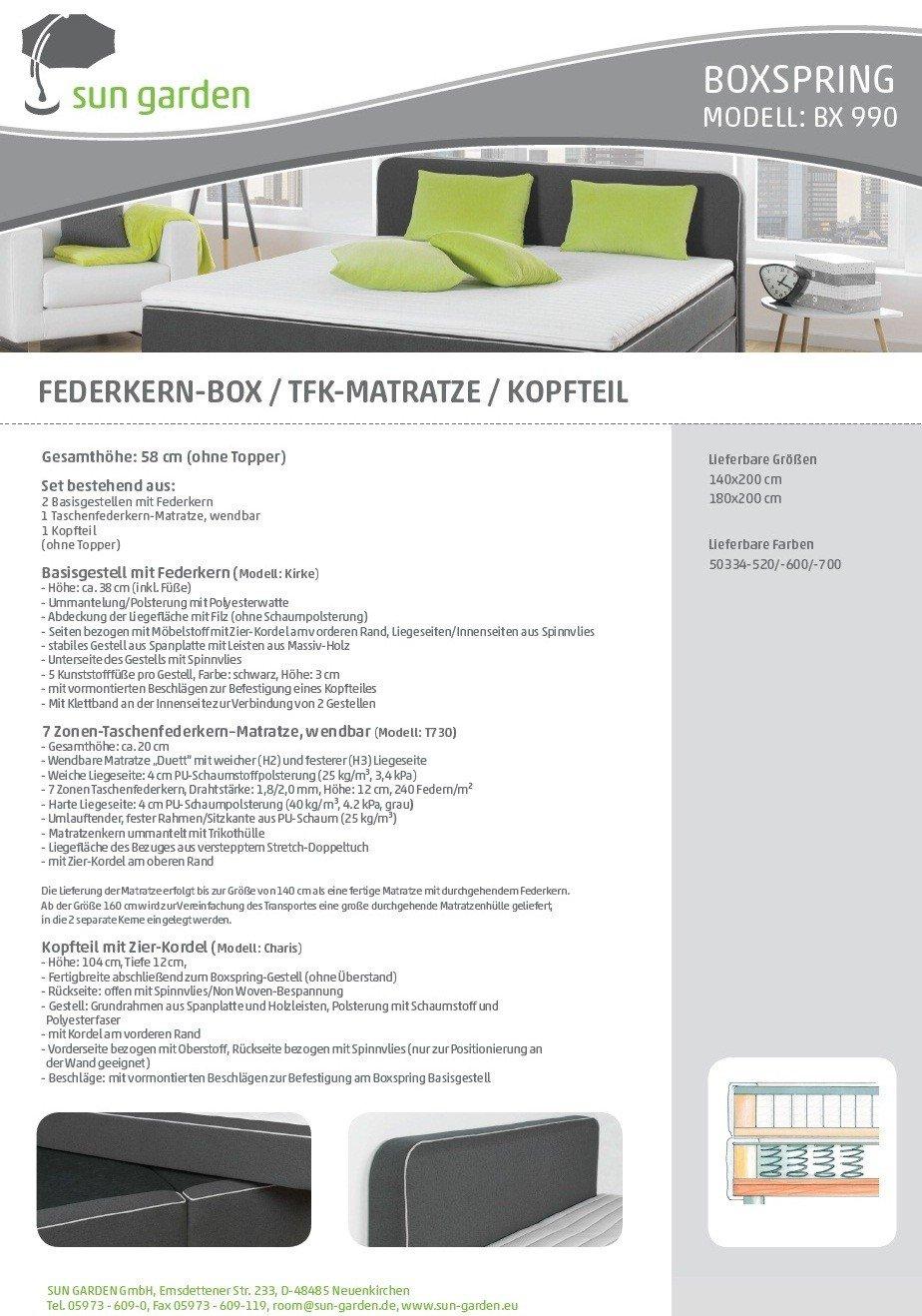 Box Spring Bed Cape Town, foam, frei Bordsteinkante, 180 x 200 cm ...