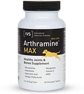 product image for International Veterinary Sciences IVS Arthramine MAX Healthy Joints Glucosamine Supplement for Dogs with Fish Oil, Hyaluronic Acid, MSM, and Vitamin C, Made in the USA, 60 Count