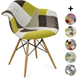 Chaise DAW Style Patchwork - Ground - Style Scandinave - 62.5 cm x 63 cm x 81 cm - ZOLOFORNITURE
