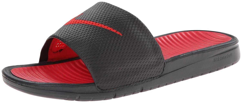 Boys Nike Benassi Swoosh Black Red Slides