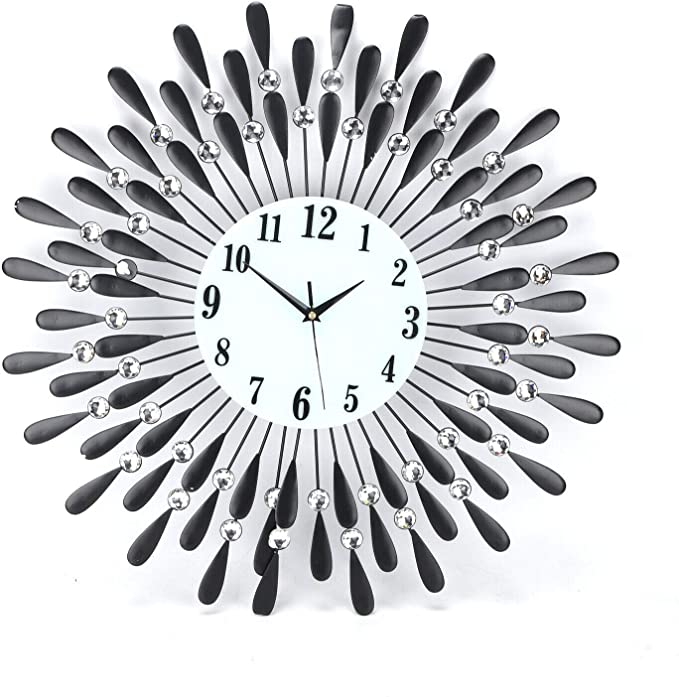 Shoze Modern Round Metal Wall Clock Black Sunflower Metal Wall Diamond Clock Beaded Jeweled For Living Room Bedroom Kitchen 60cm Amazon Co Uk Kitchen Home