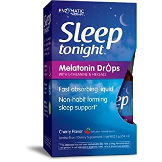 Sleep tonight  Melatonin Drops L-Theanine (Suntheanine) Fast Absorbing Non-habit forming Non-Alcoholic Cherry 2 Ounces