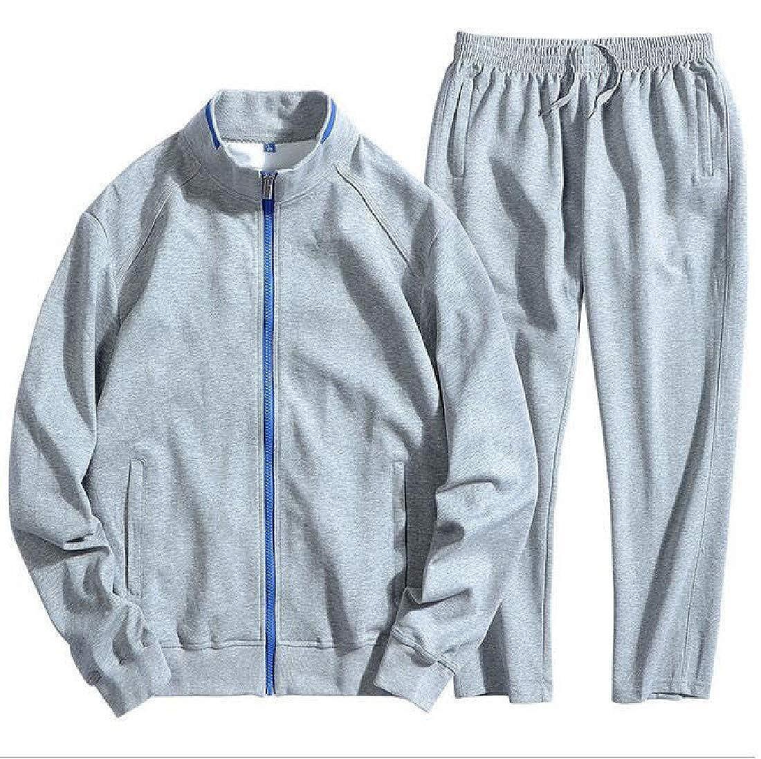 Pandapang Mens Zipper Jacket Sports Big and Tall Sweatpants Tracksuit Set