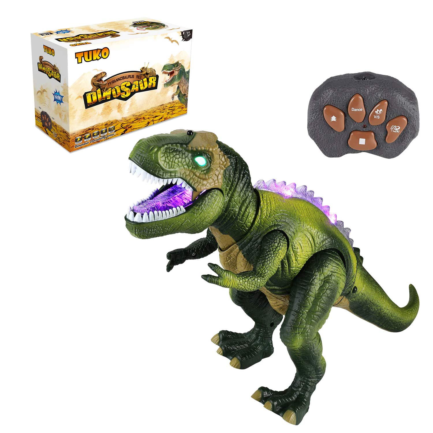 Tuko Light Up Remote Control Dinosaur Toys Jurassic World Walking and Roaring Realistic T-Rex Dinosaur Toys with Glowing Eyes, Walking Movement, Shaking Head for Toddlers Boys Girls