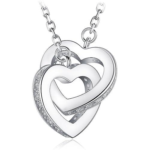 f604b9476 Amazon.com: HUIMEI Sterling Silver Double Zirconia Heart Interlocking  Pendant Necklace: Jewelry