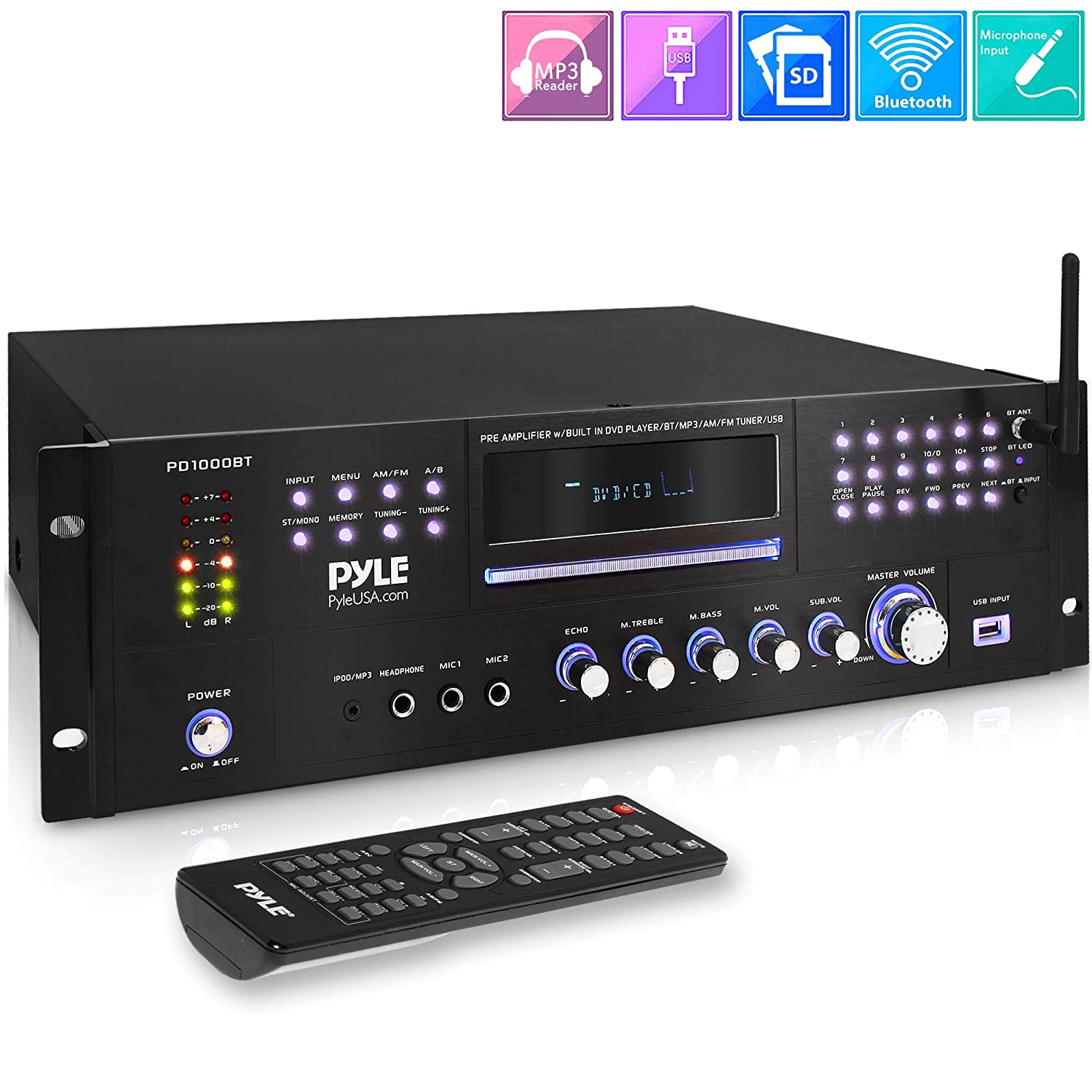 1000W Stereo Speaker Home Audio Receiver - 4 Channel Wireless Bluetooth Power Amplifier w/USB, Headphone, FM Radio, 2 Microphone w/Echo, Front Loading CD DVD Player, LED, Rack Mount - Pyle PD1000BT