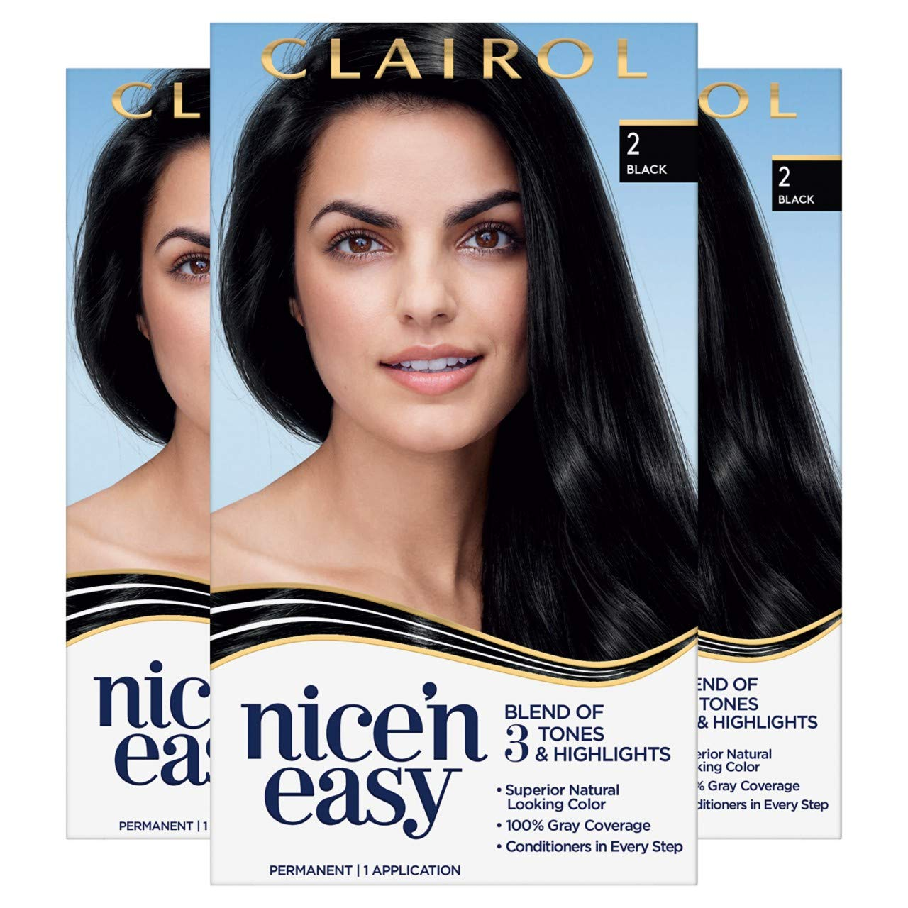 Clairol Nice'n Easy Permanent Hair Color, 2 Black, 3 Count