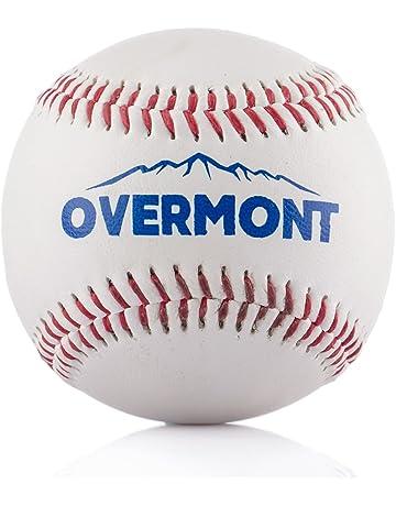 Overmont Pelota de Beisbol sofbal Softball de Cuero Sintetico, Color Blanco