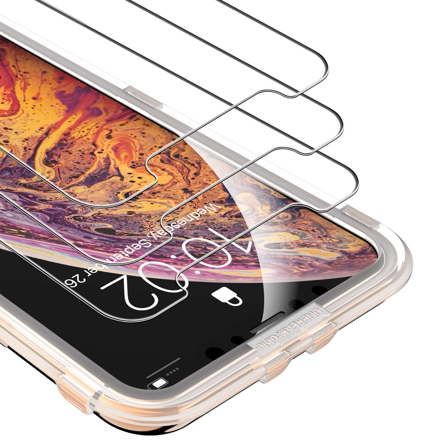 UNBREAKcable Screen Protector for iPhone Xs MAX [3-Pack] - 9H Hardness Tempered Glass for iPhone Xs MAX, Bubble-Free, Shatter-Proof, Free Installation Frame, Case-Friendly, 3D Touch Support by UNBREAKcable