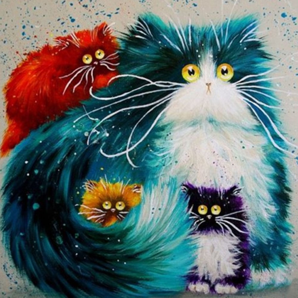 DIY Square Diamond Painting Cat 5D DIY DP Embroidery Mosaic Animal Cross Stitch Home Decor Needlework Paint-by-Number Kits 12X12 inch (Cat)