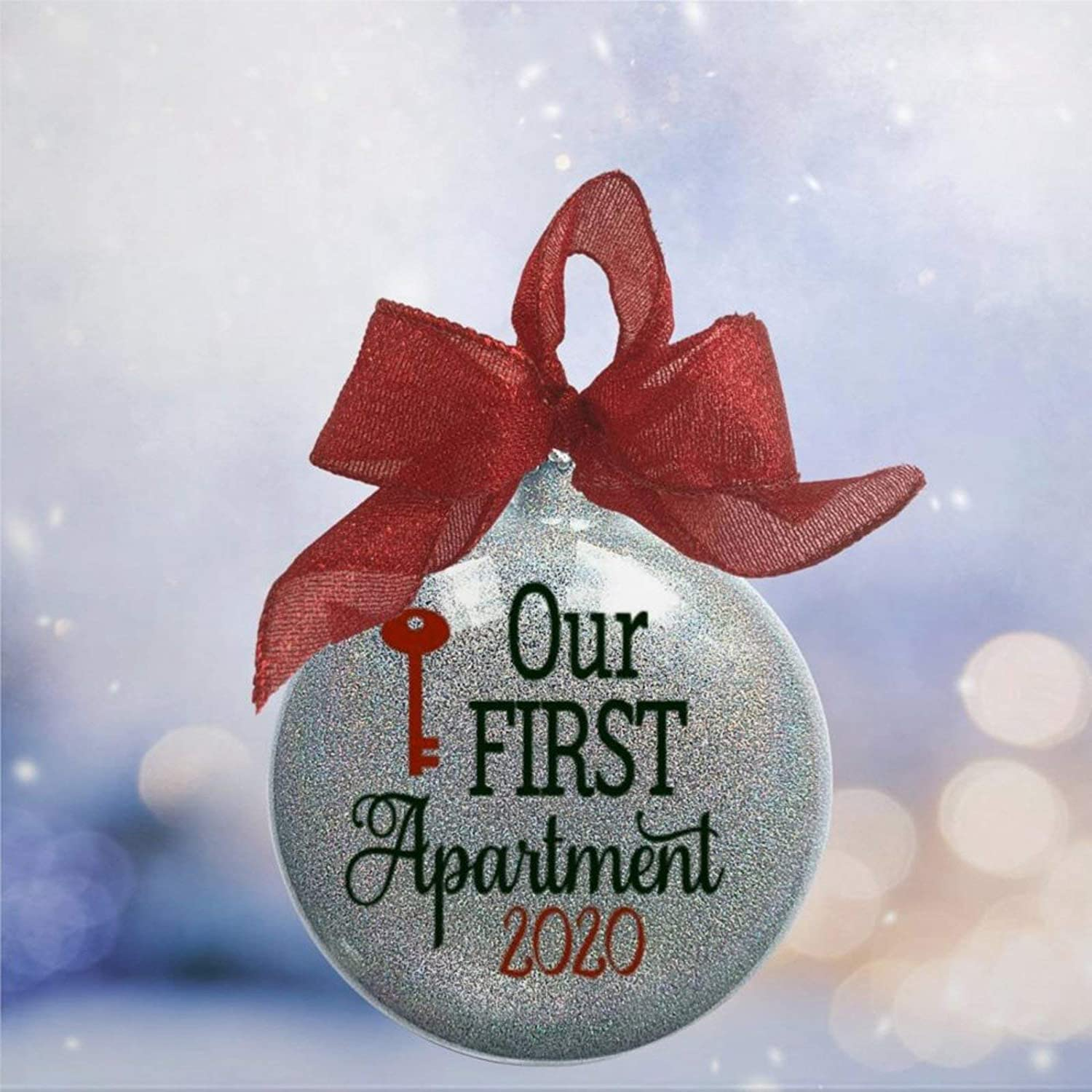 DONL9BAUER Our First Apartment Home New in Housewarming Christmas Ball&Bauble with Presents, Acrylic Christmas Ornament for Family,Friends,Couple &Engagement Party.
