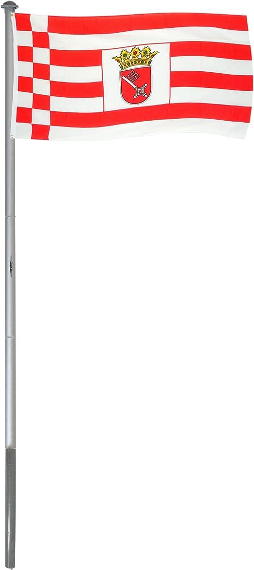 BRUBAKER Mástil Aluminio Exterior 6 m Incluye Bandera de Bremen ...