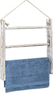 Jolitac Large Wall-Hanging Towel Ladder US Size Rustic Whitewashed Wood Countertop Ladder Farmhouse Decor Towels Rack with Adjustable Rope for Kitchen Bathroom (White)