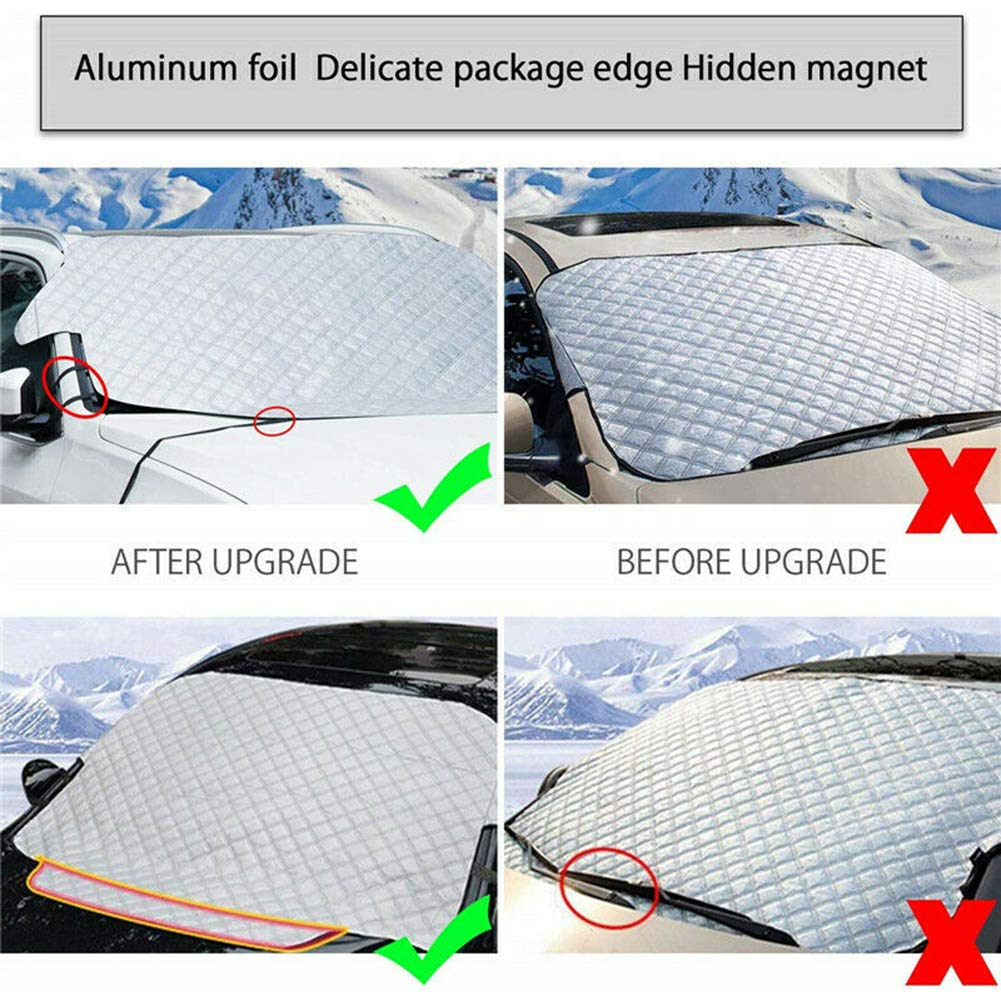 Auto Window Ice Snow Frost Protection Cover Sunshade 75 x 50 inches KOqwez33 Magnetic Car Windshield Sun Shade Blocks 99/% UV Rays +Keep Vehicle Cool