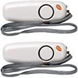 2-Pack Vigilant 130dB Personal Alarm - LED Flashlight - Rip Cord Activation - Regular AAA Batteries Included (PPS8G Grey 2 Pack)