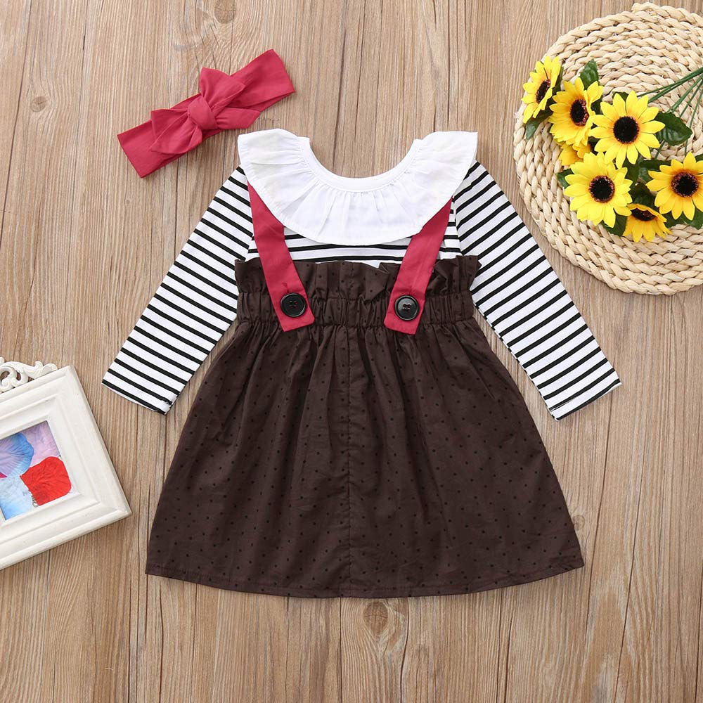 Theshy Toddler Baby Girls Long Sleeves Strip Dot Dress+Headband Outfit Clothing Sets Girls Clothing Childern Clothes
