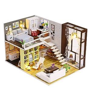 Mini House Building Mini Wooden House Building Kit Simple Style Loft with Mini Sofa,Table,Bookshelf Mini Mansion Assembly Kit Doll House Mini Furniture DIY Modern House with Dust Proof ,Led Light