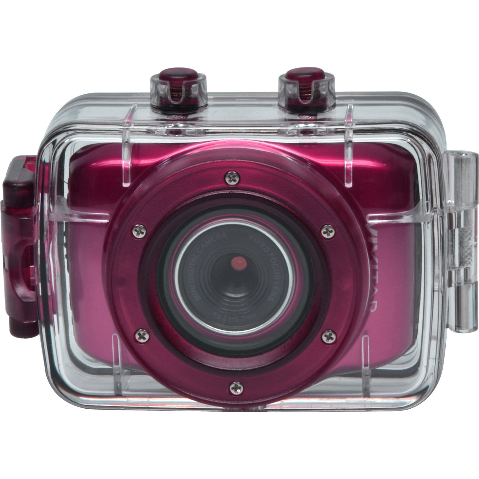 Vivitar DVR781HD HD Waterproof Action Video Camera Camcorder (Pink) with Helmet & Bike Mounts by Vivitar