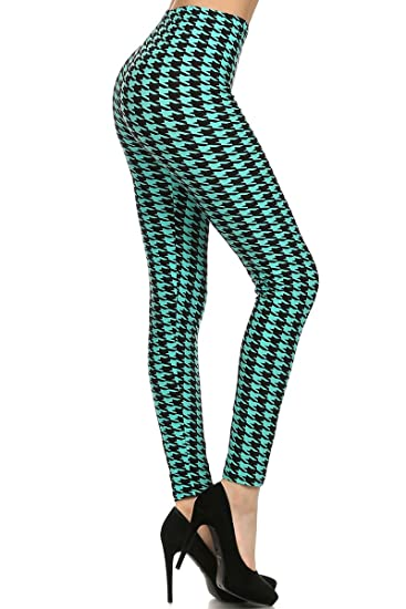e29312d8db858d Legging Depot Women's Houndstooth Printed Lined Leggings at Amazon ...