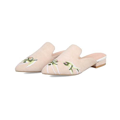 Sandalias de Mujer bajo talón, Zapatillas, Beige, 34
