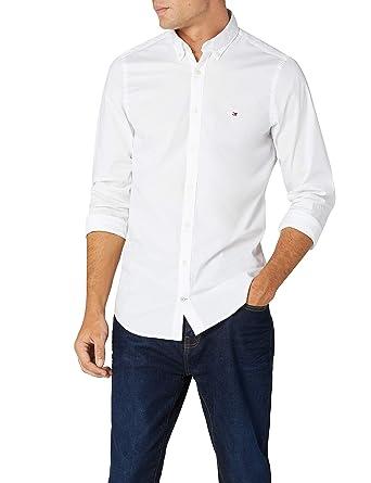 c20d7a70 Tommy Hilfiger Men's Slim Fit Stretch Poplin Logo Shirt, White, Medium